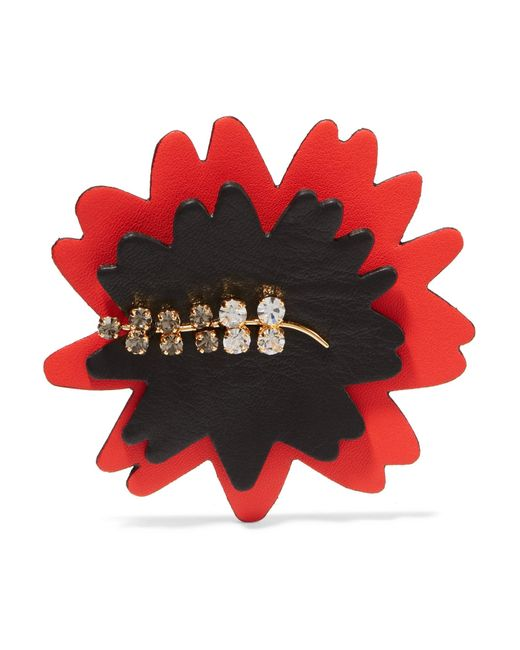 Marni   Red Leather, Gold Tone And Crystal Brooch   Lyst