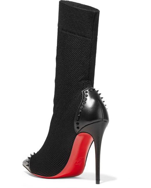 6c235714f680 ... Christian Louboutin - Black Dovi Dova 100 Studded Leather-trimmed  Stretch-knit Sock Boots ...