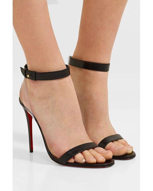 1ebe4fd74bef ... Christian Louboutin - Black Jonatina 100mm Leather Sandals - Lyst ...