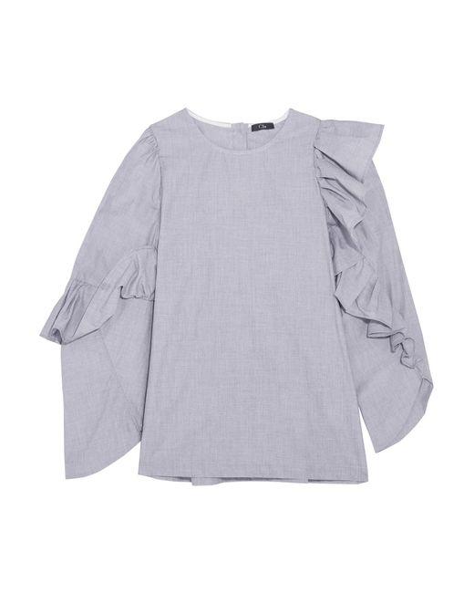 CLU   Gray Asymmetric Ruffled Cotton Top   Lyst
