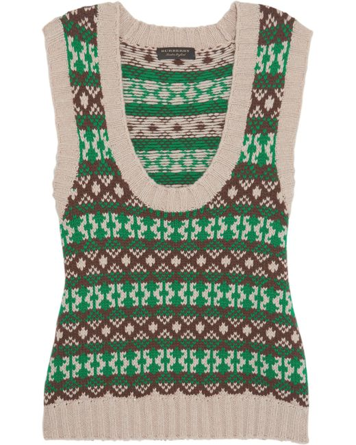 Burberry | Green Fair Isle Cashmere And Wool-blend Vest | Lyst