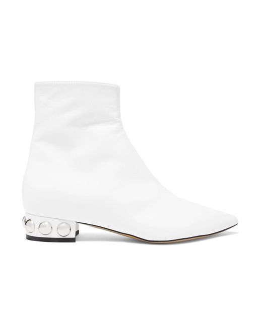 Ellery - White Springfield Studded Leather Ankle Boots - Lyst