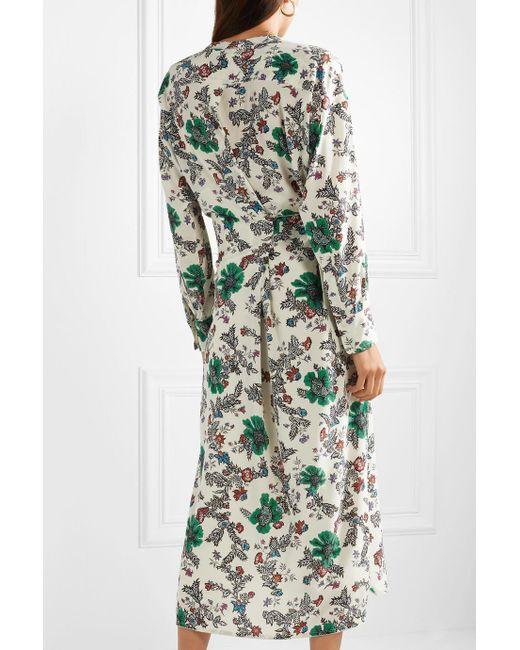 Calypso Floral-print Silk-blend Crepe De Chine Wrap Dress - Ecru Isabel Marant fQVomN