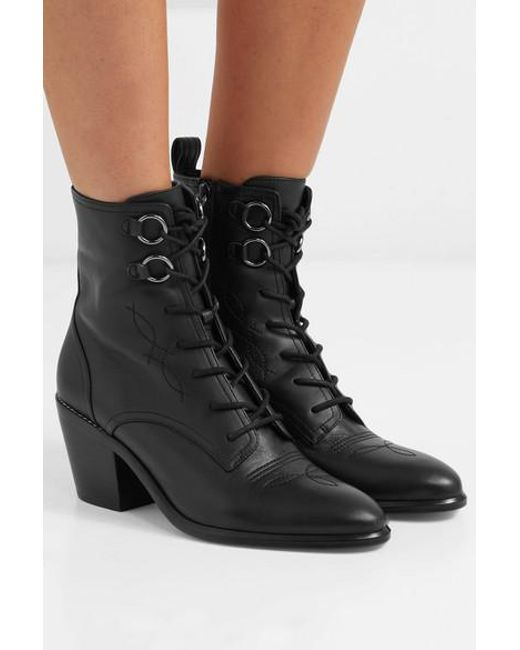 eb8d4978d4 ... Diane von Furstenberg - Black Dakota Lace-up Leather Ankle Boots - Lyst  ...