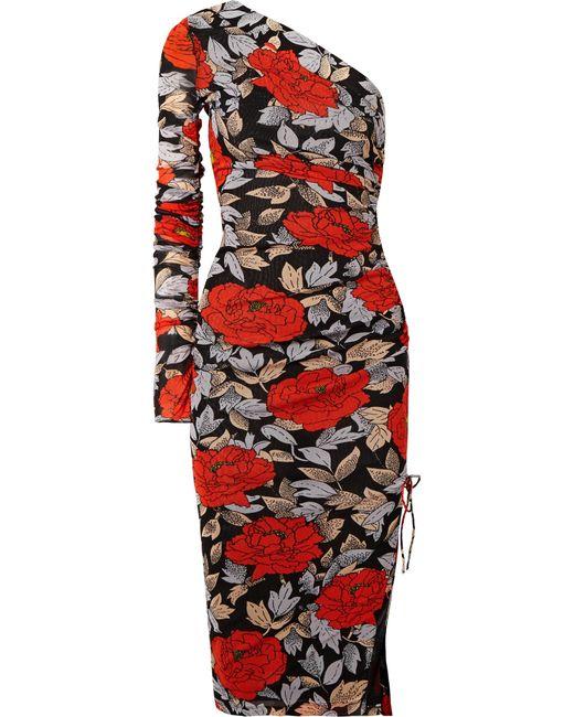 Diane von Furstenberg - Black One-shoulder Ruched Floral-print Mesh Midi Dress - Lyst