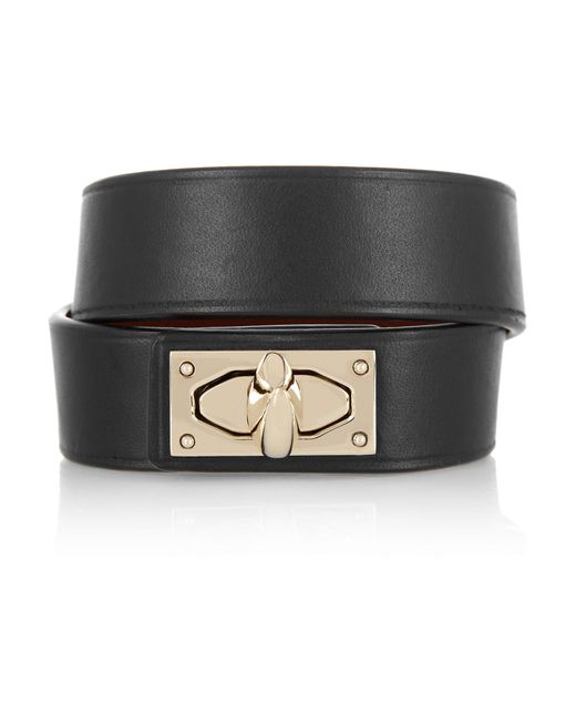 Givenchy | Black Shark Lock Bracelet In Leather And Gold-tone Brass | Lyst