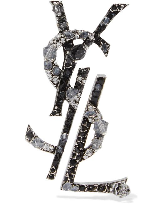 Saint Laurent | Metallic Ruthenium-plated, Crystal And Enamel Clip Earrings | Lyst