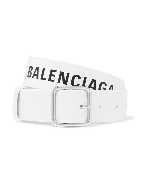 Balenciaga - White Everyday Printed Textured-leather Belt - Lyst