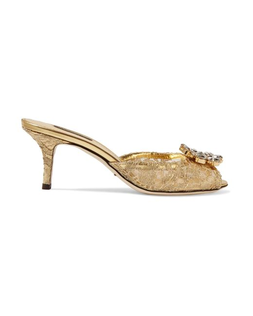 Dolce & Gabbana | Crystal-embellished Metallic Corded Lace Mules | Lyst