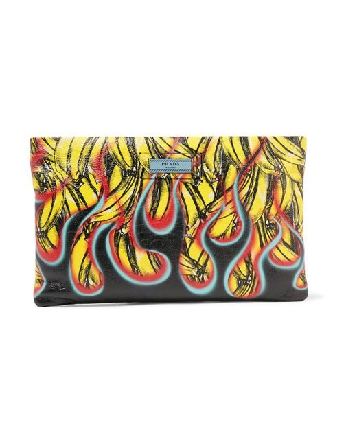 Prada - Black Printed Textured-leather Pouch - Lyst