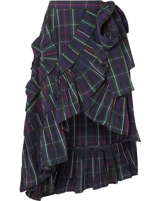 J.Crew - Blue Ruffled Plaid Shell Wrap Skirt - Lyst
