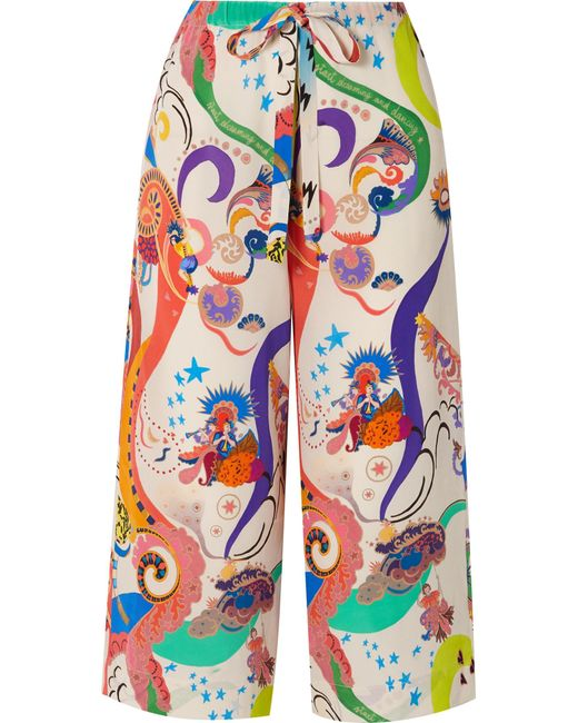 Etro - White Cropped Printed Silk Crepe De Chine Pants - Lyst