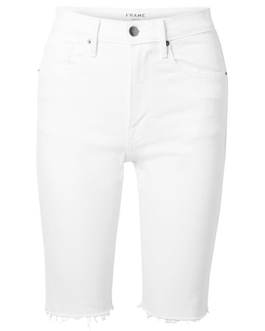 b863c210a6 FRAME - White Le Vintage Bermuda Frayed Denim Shorts - Lyst ...