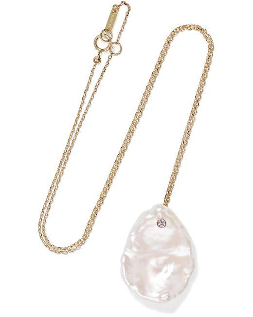 Mizuki - Metallic 14-karat Gold, Pearl And Diamond Necklace - Lyst