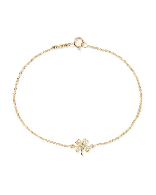 Jennifer Meyer - Metallic Mini Clover 18-karat Gold Diamond Bracelet - Lyst