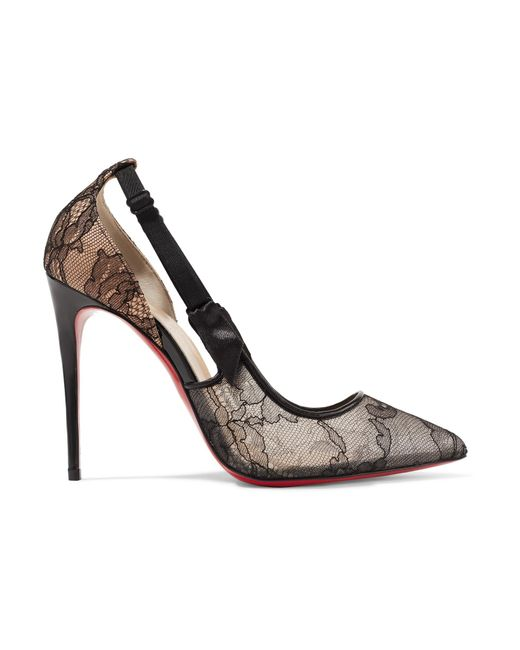 Black Patent Court Shoes With Red Soles