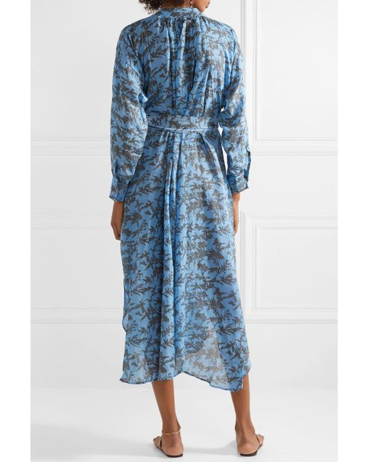 Ruffled Printed Linen Midi Dress - Light blue Yvonne Sporre ynbwokTLK