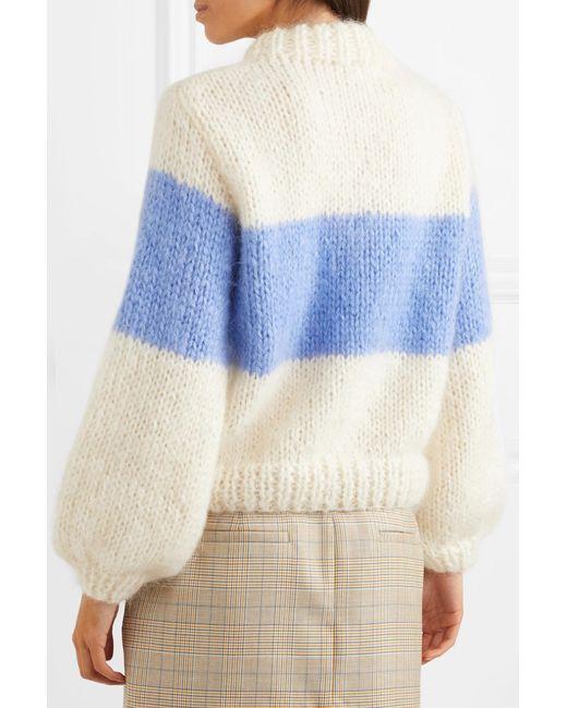 db8959b4c7a17 ... Ganni - Blue Julliard Striped Mohair And Wool-blend Sweater - Lyst ...