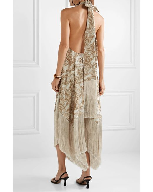 e2275735 ... Cult Gaia - Natural Ali Fringed Embroidered Fil Coupé Canvas Halterneck  Maxi Dress - Lyst ...