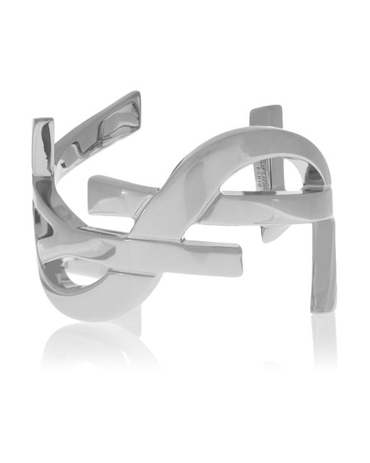 Saint Laurent | Metallic Monogramme Silver-tone Cuff | Lyst