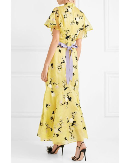 Cheap Sale Wiki Celestina Ruffled Embroidered Silk-organza Gown - Yellow Erdem Outlet Cheap Prices v8GBWzBGhO