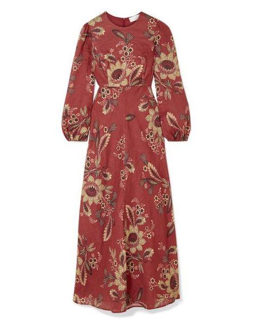 66f23edf Zimmermann - Red Juno Floral-print Linen Maxi Dress - Lyst ...