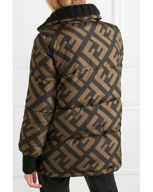 d5743ad3d6 ... Fendi - Black Reversible Wool Blend-trimmed Printed Quilted Down Ski  Jacket - Lyst ...