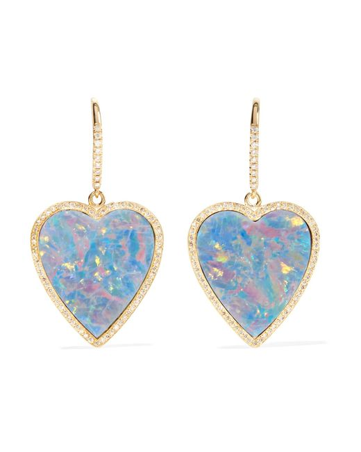 Jennifer Meyer Heart 18-karat Gold, Diamond And Opal Earrings
