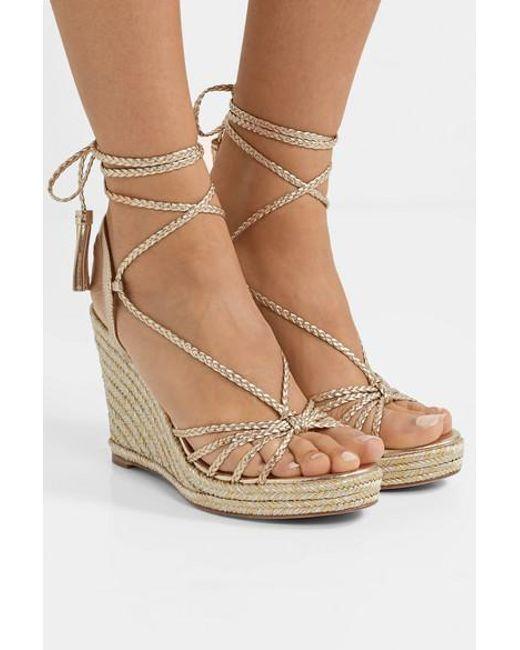 949c4ffb658 Aquazzura Savannah 120 Metallic Leather Espadrille Wedge Sandals in ...
