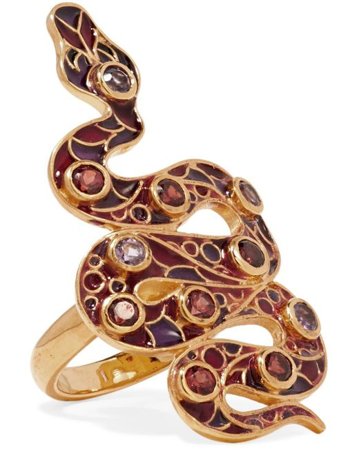 Percossi Papi - Purple 9-karat Gold And Enamel Garnet And Amethyst Ring - Lyst