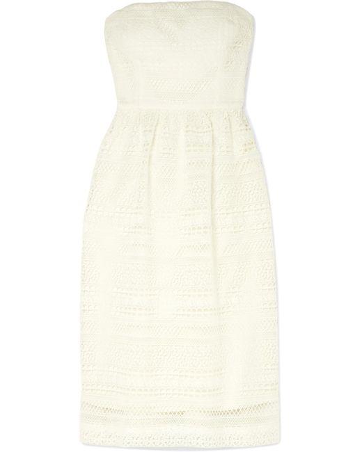 J.Crew - White Stanbury Strapless Crocheted Lace Midi Dress - Lyst