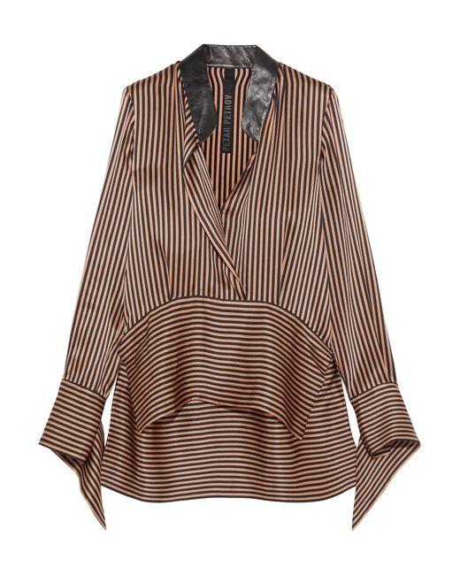 Petar Petrov | Brown Leather-trimmed Asymmetric Striped Silk-satin Blouse | Lyst