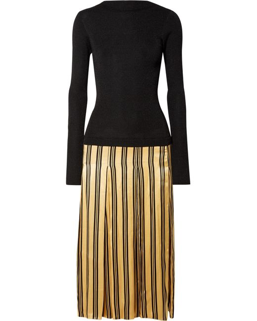 By Malene Birger - Black Lorenas Ribbed-knit And Striped Satin Midi Dress - Lyst