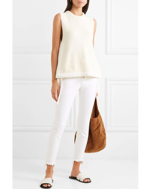 72c29c63068 ... Madewell - White Frayed High-rise Skinny Jeans - Lyst ...