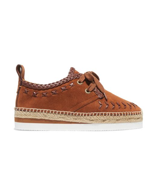 See By Chloé | Brown Leather-trimmed Suede Espadrille Platform Sneakers | Lyst
