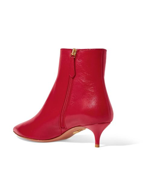5d08eeb78a7 Lyst - Aquazzura Quant Leather Ankle Boots in Red - Save 10%