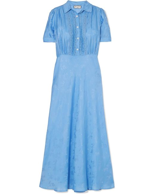 Paul & Joe - Blue Julia Lace-trimmed Floral-jacquard Midi Dress - Lyst