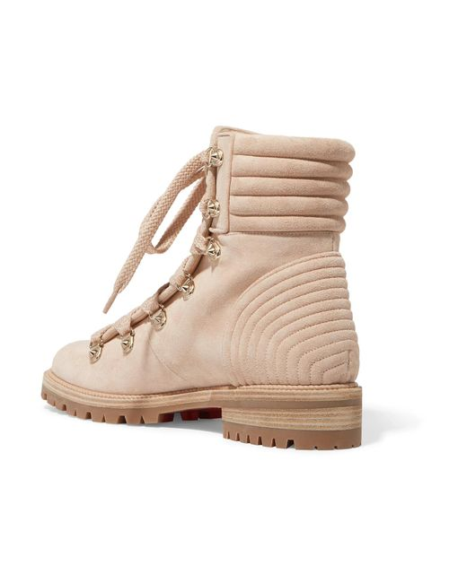 6557a74540a2 ... Christian Louboutin - Natural Mad Spiked Quilted Suede Ankle Boots -  Lyst ...