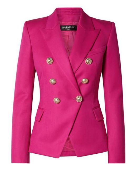 27e2ae91 Balmain - Pink Double-breasted Wool-twill Blazer - Lyst ...
