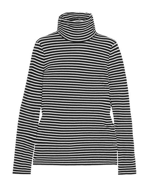 J.Crew | Black Tissue Striped Cotton-jersey Turtleneck Top | Lyst