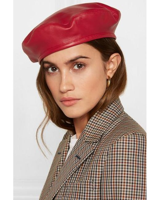 6134fe307af860 ... Eugenia Kim - Red Cher Leather Beret - Lyst ...
