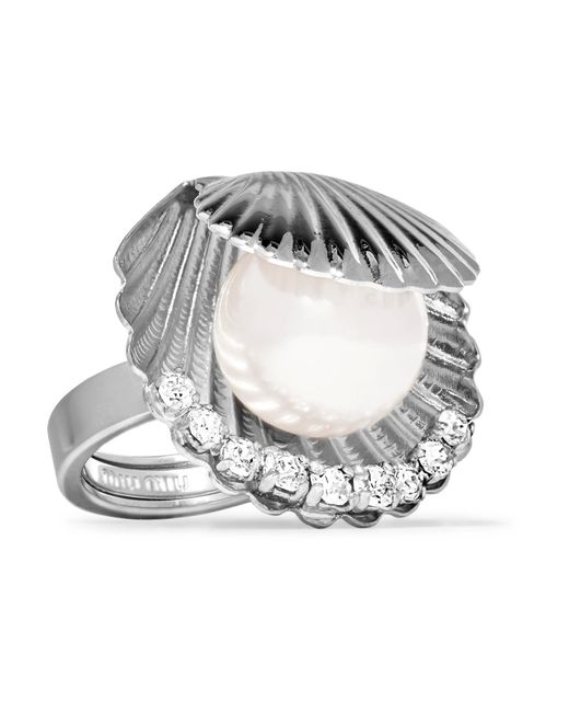 Miu Miu | Metallic Silver-tone Faux Pearl And Crystal Ring | Lyst