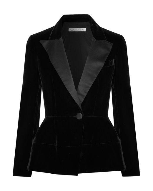 Oscar de la Renta | Black Silk Satin-trimmed Velvet Blazer | Lyst