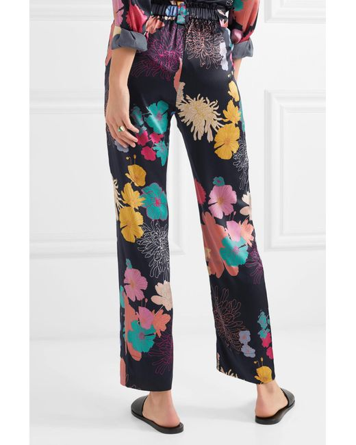 Vinnie Floral-print Silk-blend Satin Straight-leg Pants - Black Stine Goya Cheap Sale Fashionable Sale Low Cost Clearance Cheapest Price Yq7DPBLqQF