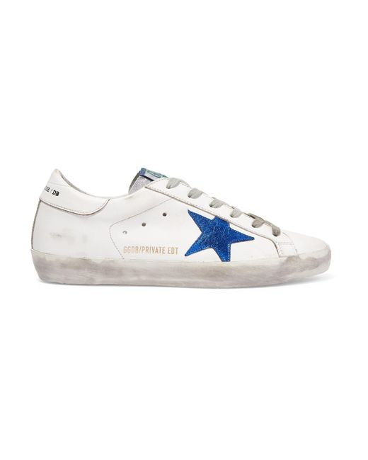 Golden Goose Deluxe Brand - White Superstar Distressed Leather Sneakers - Lyst