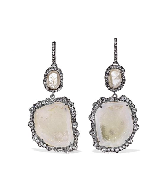 Kimberly Mcdonald - Metallic 18-karat Blackened White Gold, Geode And Diamond Earrings - Lyst