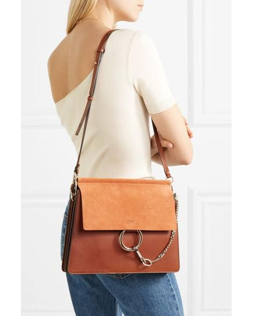 abea91eac4 Chloé Faye Medium Leather And Suede Shoulder Bag in Brown - Save 25 ...