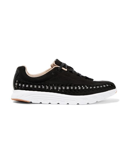 nike mayfly open weave suede sneakers in black lyst