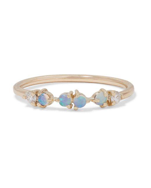 Wwake - Metallic Gold, Opal And Diamond Ring Gold 5 - Lyst