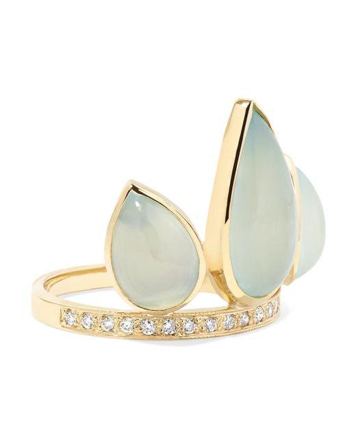 Jacquie Aiche - Metallic 14-karat Gold, Aquamarine And Diamond Ring - Lyst